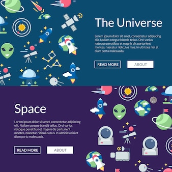 Flat space icons web banner set