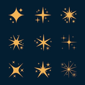Плоская сверкающая звездная коллекция