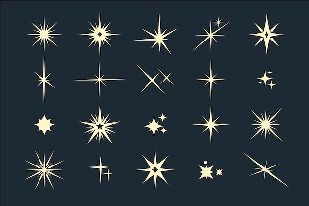 Flat sparkling star collection