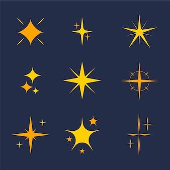 Collezione di stelle scintillanti piatte