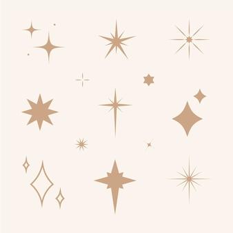 플랫 반짝이는 별 컬렉션