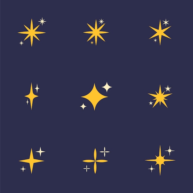 Flat sparkling stars collection