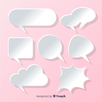 Flat speech bubble collection in paper style pink background