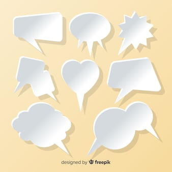 Flat speech bubble collection in paper style salmon background
