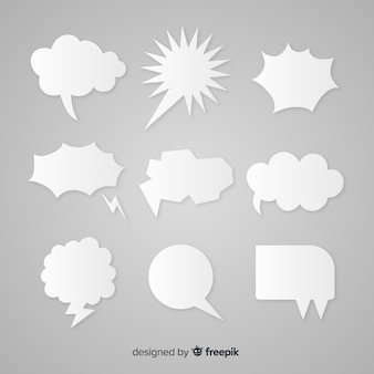 Flat speech bubble collection paper style
