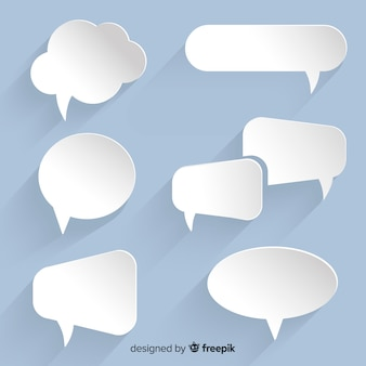 Flat speech bubble collection in paper style