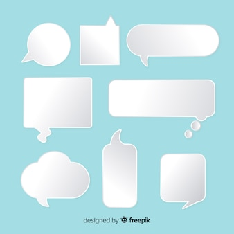 Flat speech bubble in paper style collection