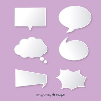 Flat speech bubble in paper style pack