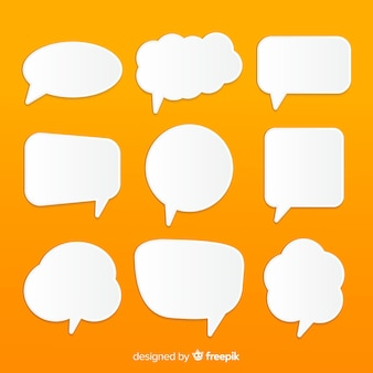 Flat speech bubble set in paper style