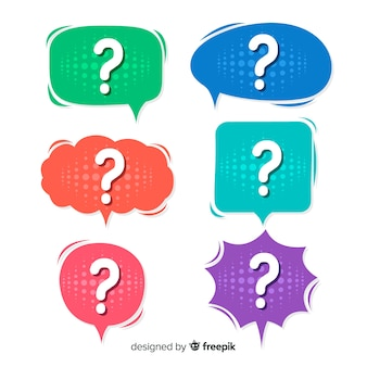Flat speech bubble with question mark