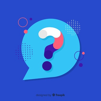 Flat speech bubble with question marks