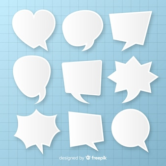 Flat speech bubbles array in paper style