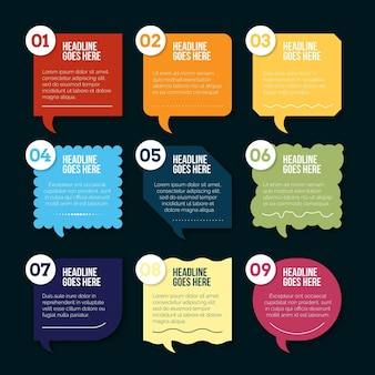 Flat speech bubbles infographics