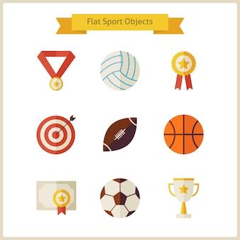 Плоский набор объектов спорта и соревнований. спорт и развлечения. лидер успеха и победитель. первое место. коллекция обратно в школу объектов, изолированных на белом. здоровый образ жизни.