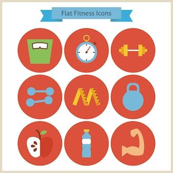 フラットスポーツとフィットネスのアイコンを設定します。ベクトルイラスト。健康的なライフスタイルのカラフルなサークルアイコンのコレクション。スポーツ活動ジムのトレーニングとエクササイズ