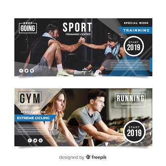 Flat sport banner with photo