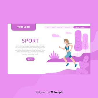 Flat sport landing page template