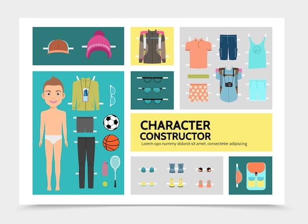어린 소년 셔츠 반바지 스 니 커 즈와 플랫 스포츠 남자 캐릭터 infographics