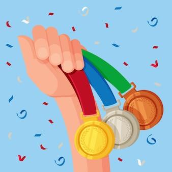 Flat sport medals illustration