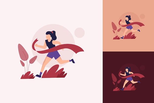 평평한 스포츠 또는 마라톤을 하는 소녀