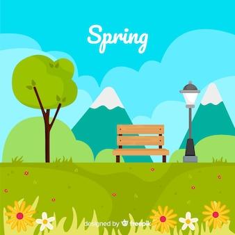 플랫 봄 배경