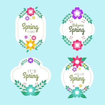 Collezione di badge primavera piatta