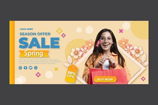 Flat spring banner template with discount