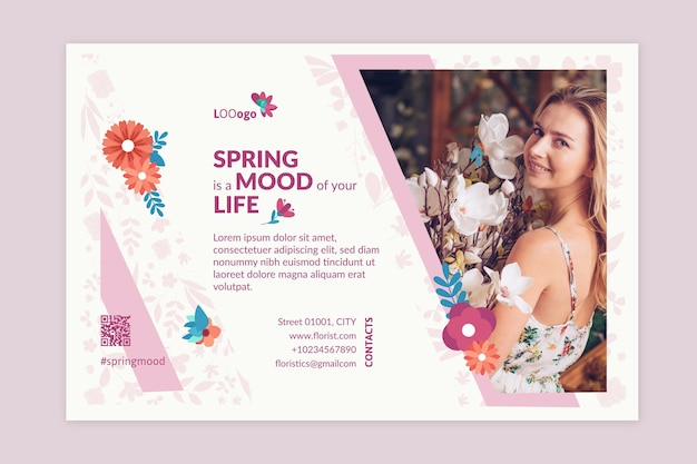 Flat spring banner with floral illustrations