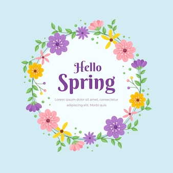 평평한 봄 꽃 원형 프레임