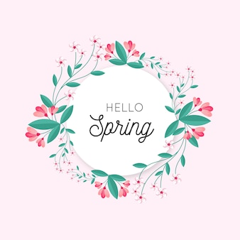 Concetto di cornice floreale primavera piatta