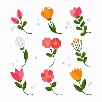 편평한 봄 꽃 세트