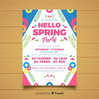 Flat spring garden party poster