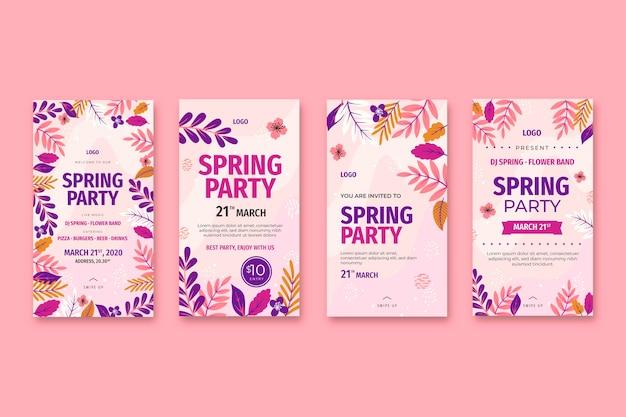 Raccolta di storie di instagram di primavera piatta