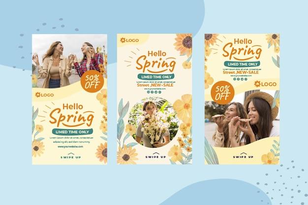 Storie di instagram di primavera piatta