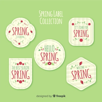 Flat spring label collection
