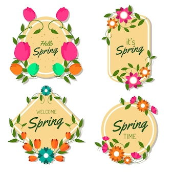 Flat spring labels collection