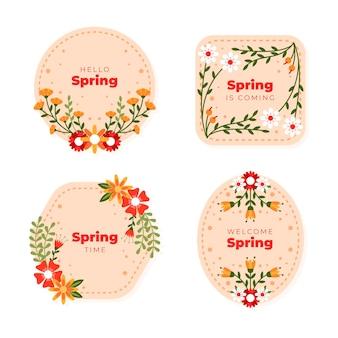 Коллекция плоских весенних этикеток