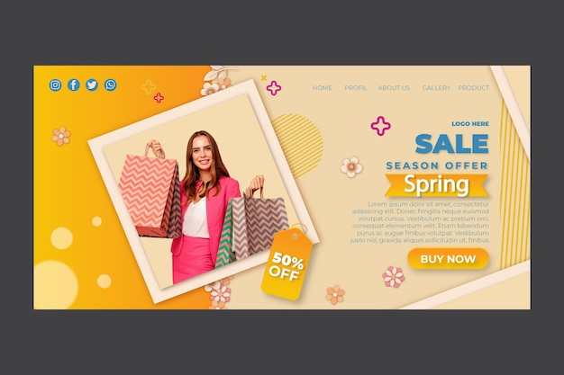 Flat spring landing page with discount