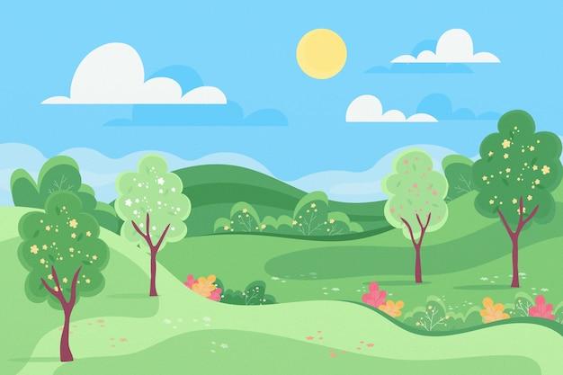Плоская весенняя пейзажная концепция