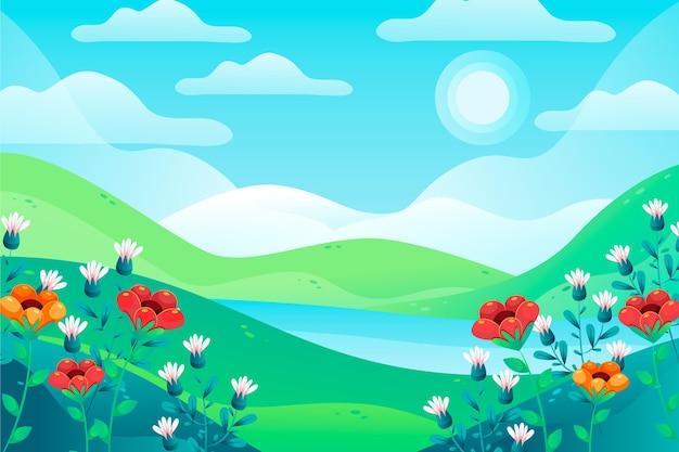 Flat spring landscape illustration