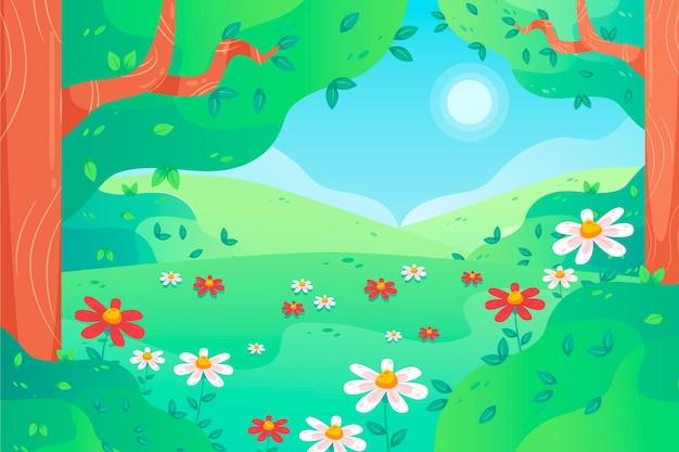 평평한 봄 풍경 그림