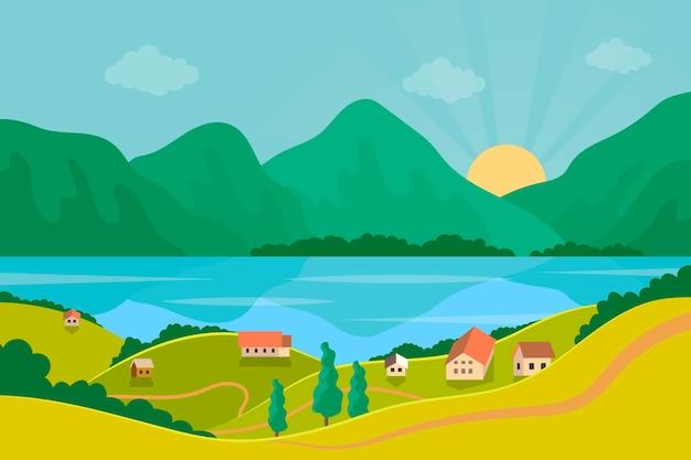 湖のある平らな春の風景