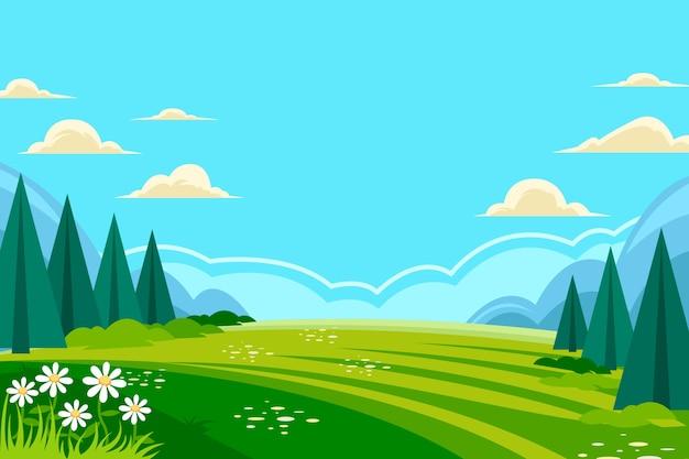 平らな春の風景