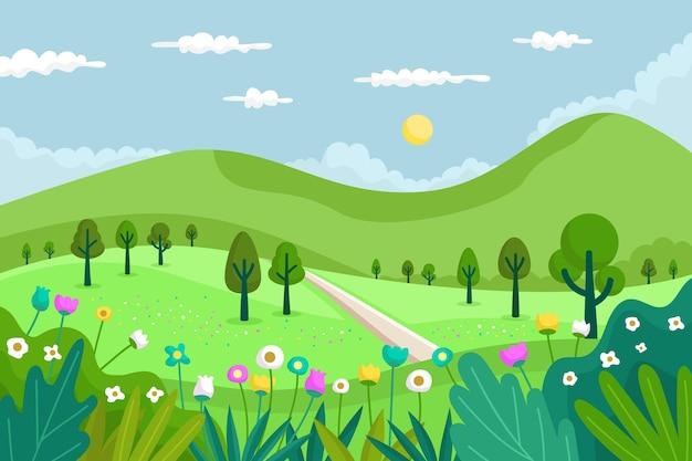 평평한 봄 풍경