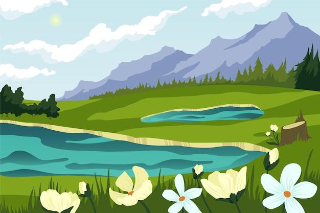 Плоский весенний пейзаж