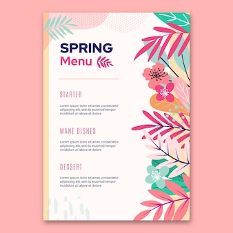 Flat spring menu floral template
