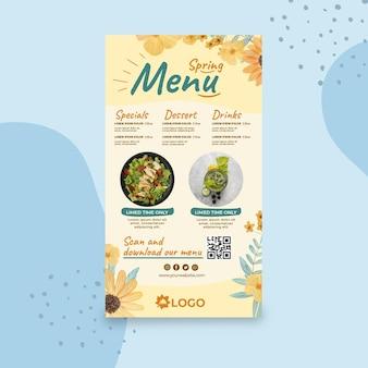 Flat spring menu template