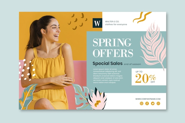 Flat spring offers banner template