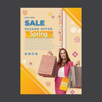 Modello di poster a4 festa di primavera piatta