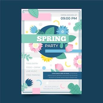 플랫 봄 파티 전단지 서식 파일